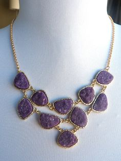 Plum Eggplant Grape Purple Gold Bezeled Druzy by JeweltoneJewelry, $32.00