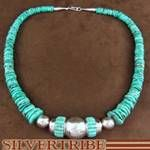 Navajo Native American Silver Turquoise Inlay Bead and Turquoise Bead Necklace