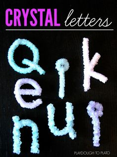 Brilliant! Make crystal letters in a jar. Such a fun way to help kids learn how to spell their name.