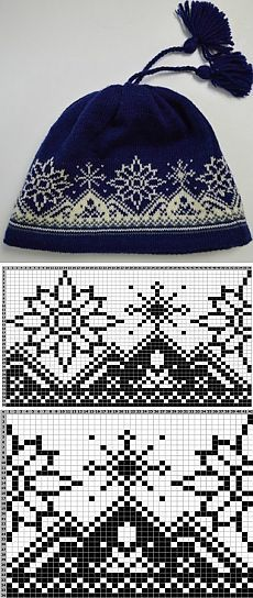 Knit hat fair isle mountain pattern