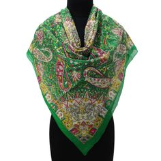 Designer Pure Cotton Square Scarves Green Shoulder Wrap Floral Print Scarf  ..this is img