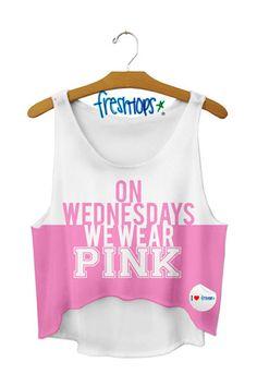 On Wednesdays we Wear Pink Crop Top - Fresh-tops.com