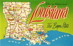 Louisiana State Map Vintage Chrome Greetings Postcard. $5