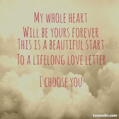 """Love quote - """"This is a beautiful start to a lifelong love letter. Tell the world that we finally got it all right."""" ~ Sara Bareilles """"I Choose You"""" {Courtesy of tunewiki.com}"""