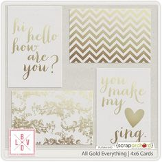 Free All Gold Everything Journal Cards | La Belle Vie Designs