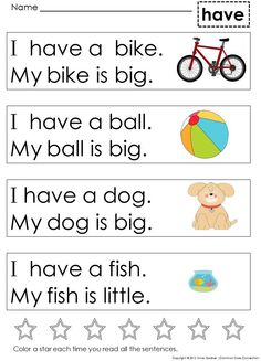 Very First Sight Word Sentences Help students master sight words and develop early literacy skills - My best education list Sight Word Sentences, Teaching Sight Words, Sight Word Worksheets, Sight Word Practice, Phonics Reading, Teaching Phonics, Kindergarten Reading, Teaching Reading, Kindergarten Vocabulary