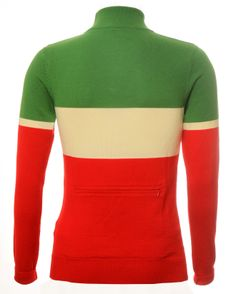 Green, ecru & red Italian merino wool cycling jersey with a rear zip pocket. Perfect for cycling in cold weather! Cycling Clothing, Cycling Outfit, Bike Wear, Cycling Jerseys, Cold Weather, Merino Wool, Turtle Neck, Pocket, Zip