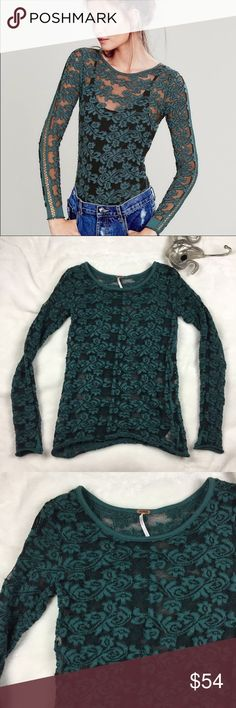 """Free People Green Tight Lace Floral Pullover Free People green tight lace pullover long sleeve top with crochet detail, size small. Sold out online. No trades, but feel free to use the offer button. Thank you for browsing my closet. Measurements: Armpit to armpit 17"""" Length 26"""" Free People Tops Tees - Long Sleeve"""