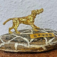 personalized dog owner's gift ,cast brass dog, Beach Stone Paperweight, Pebble Art Decor,  original Christmas gift