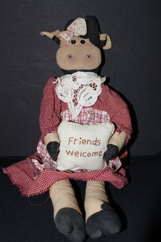 cow rag doll by sunflowervalley on Etsy