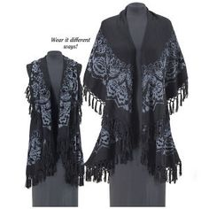 Black Rose Shawl Vest