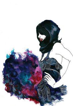 Fashion illustration by June Chanpoomidole  http://sincere-june.blogspot.co.uk/2010/02/london-fashion-week-amelias-magazine.html