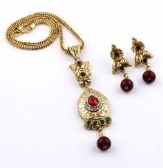 Prakruthi's gold plated antique pendant set -...