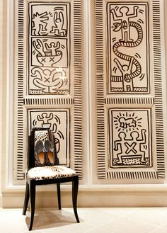 Keith Haring doors and Christian Louboutin's shoes in Tommy Hilfiger's home
