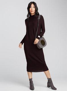 Fine merino high-neck dress   Contemporaine   Shop Midi Dresses   Simons
