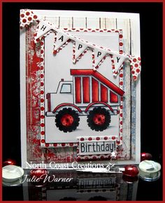 Stamps - North Coast Creations Dump Truck Birthday, Our Daily Bread Designs Patriotic Paper Collection , Our Daily Bread Designs Custom Pennant Row Die, Our Daily Bread Designs Custom Pennant Swag Alphabet, Our Daily Bread Designs Custom Mini Tags Dies