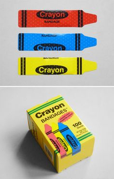 Crayon plasters, perfect for paper cuts. PD
