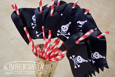 Pirate Party Straw Flags- Printable