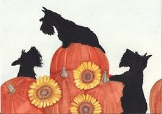 Scottish Terriers (scotties) find Halloween pumpkins / Lynch signed folk art print. $12.99, via Etsy.