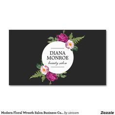 Modern Floral Wreath Salon Business Card Template for Makeup Artists, Hair Salons, Stylists, etc. Matching rack cards, appointment cards and marketing materials available.
