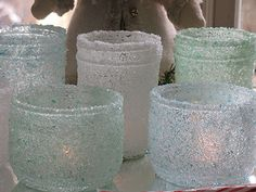 these are too cool... jelly jars epsom salts food coloring mod podge and clear sealer makes beautiful candle holders