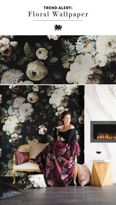 Statement wallpaper is a big trend, and bold floral prints create a look that overflows with drama and romance. Large-scale prints pair well with the sweeping marble-like movement of Cambria quartz Brittanicca™, as seen in this custom floating fireplace surround, creating a look that's haute couture for the home.