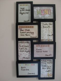 DIY Menu Board ~ scrapbook paper in frame, use dry erase marker to change weekly...and I added which child clears the table that day!