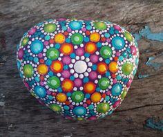 Mandala Stone  Hand painted  Dotillism  8.5cm by StripeyCatsStudio