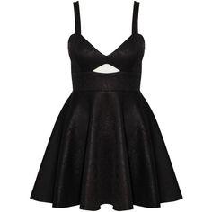 Rare Black Snake Print Skater Dress (86 HRK) ❤ liked on Polyvore featuring dresses, vestidos, short dresses, robe, short cut out dresses, cutout skater dress, snake print dress and python print dress
