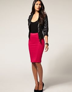Paprika Pencil Skirt With Zip Back