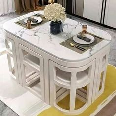 Space Saving Table, Table For Small Space, Space Saving Furniture, Home Decor Furniture, Kitchen Furniture, Furniture Design, Space Saver Dining Table, Ikea Small Spaces, Compact Dining Table