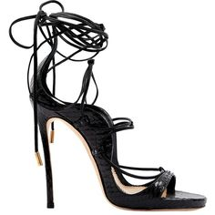 Pre-owned dsquared2 Leather Heels ($386) ❤ liked on Polyvore featuring shoes, sandals, black, women shoes heels, high heel shoes, high heeled footwear, laced sandals, leather high heel sandals and black lace up sandals