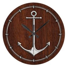 Shop Wet Nautical Mahogany Anchor Steel Large Clock created by CaptainShoppe.