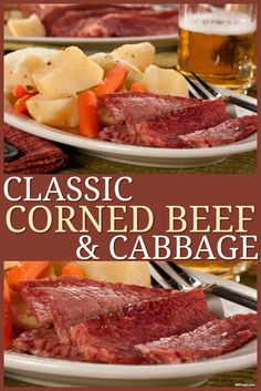 Classic Corned Beef and Cabbage If you like sticking to the classics on St. Patrick's Day, then this Classic Corned Beef & Cabbage recipe is right up your alley! Cooking Corned Beef, Corned Beef Brisket, Corned Beef Recipes, Meat Recipes, Cooking Recipes, Healthy Recipes, Recipies, Corned Beef Crockpot, Corned Beef Boiled