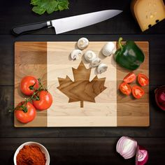 Rustic Home Decor Canadian Flag Cutting Board by WoodEnvyDotCom