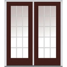 Milliken Millwork 74 in. x 81.75 in. Classic Clear Glass GBG Low-E Full Lite Painted Majestic Steel Exterior Double Door, Redwood