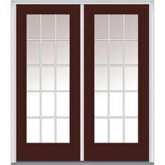 Milliken Millwork 66 in. x 81.75 in. Classic Clear Glass GBG Full Lite Painted Majestic Steel Exterior Double Door, Redwood