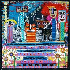 """""""Front Porch View Of Our World"""" a mixed media creation on wood by Tracey Ann Finley #outsiderart"""