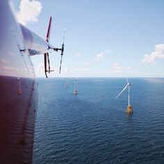 With a nacelle as large as a school bus three 27-ton blades and a tower that rises 600 feet above the water the #GE Haliade #windturbine is an engineering feat. Photographer @twheat captures these views from the Block Island Wind Farm the first offshore wind farm in the U.S. Swipe through for more. #TBT #renewableenergy