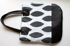 Ikat Tote with Vegan Leather bottom and straps by FlyChicks, $65.00