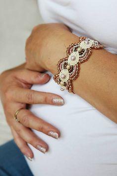 Krémový náramok strieborno-ružový, cream, vanilla, elegant, pinky, micromacrame, bracelet