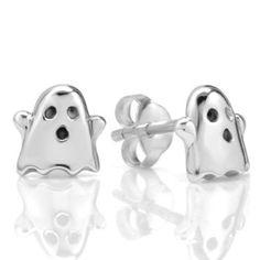 925 Sterling Silver Cute Tiny Ghost Post Stud Earrings