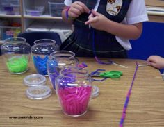 Stringing Cut Straws    Cut plastic drinking straws into small pieces, about 1-inch. (Cutting the straws is another great fine motor activity for kids.) Tie yarn to a plastic needle, or use plastic laces, and knot the end. Children string the straws onto the yarn or lace.
