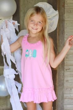 Sunflower Knit Dress with Popsicles Applique - a fun summer dress for your little girl!