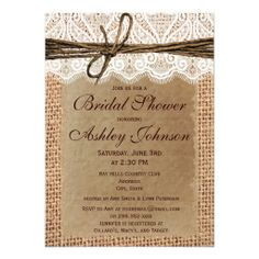 Rustic Burlap Lace Print Bridal Shower Invitations for a country style theme