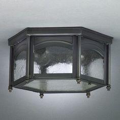 "Northeast Lantern Williams 6.5"" Medium Base Sockets Flush Mount with Finials Finish: Raw Copper, Shade Color: Caramel"