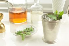 Kentucky Derby Mint Julep Cocktail Recipe shown with Bourbon Decanter by Love & Victory