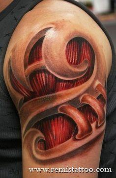 Realistic Biomechanical Tattoo on the arm    http://pinterest.com/treypeezy  http://twitter.com/TreyPeezy  http://instagram.com/OceanviewBLVD  http://OceanviewBLVD.com