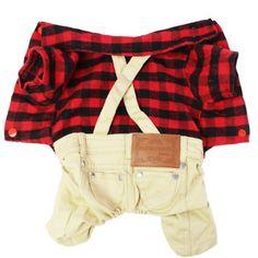 YiZYiF Pet Dog Cat Plaid T-Shirt Puppy Overalls Jumpsuit Suspenders Jacket…