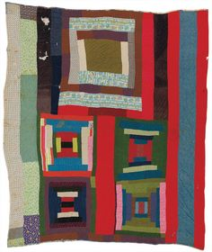 """Lucy T. Pettway, """"'Housetop and 'Bricklayer' blocks with bars"""" (circa 1955), cotton, corduroy, cotton knit, flannel, even weave"""